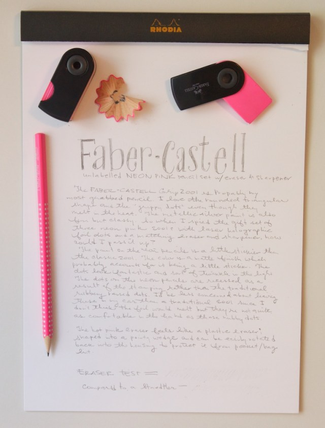 Faber Castell Neon Pink Pencil Set writing sample