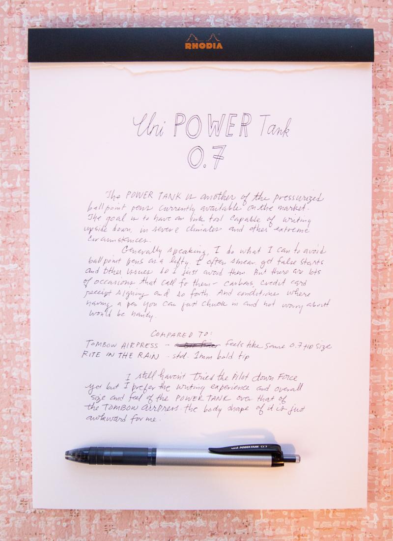 Uni Power Tank pen 0.7 writing sample