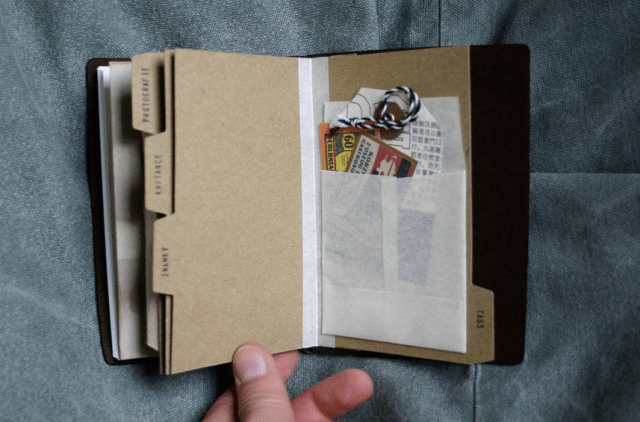 DIY kraft card divide tabs for Passport sized MTN