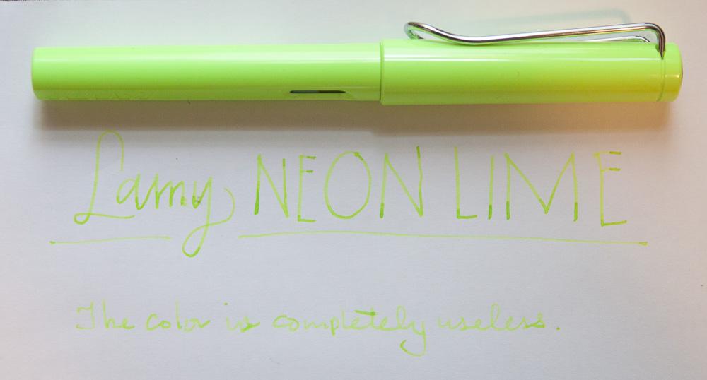 Lamy Safari Neonlime sample
