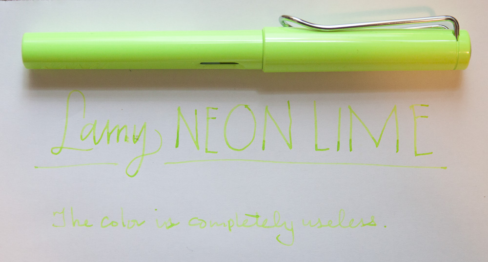 Lamy Safari Neonlime sample