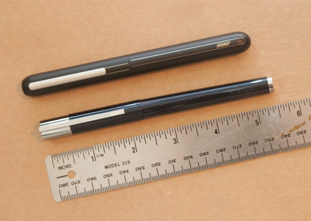 Lamy Scala Blueblack Special Edition and Lamy Dialog 3 size comparison