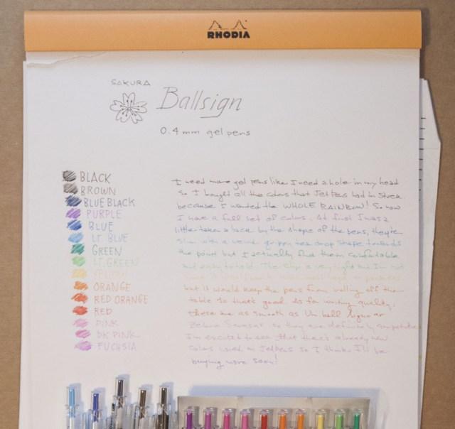 Sakura Ballsign 0.4 pen writing sample