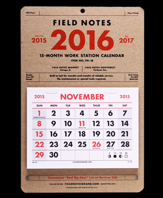 Field NOtes 2016 tear away calendar