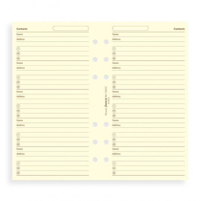 Filofax Cotton Cream Address Pages