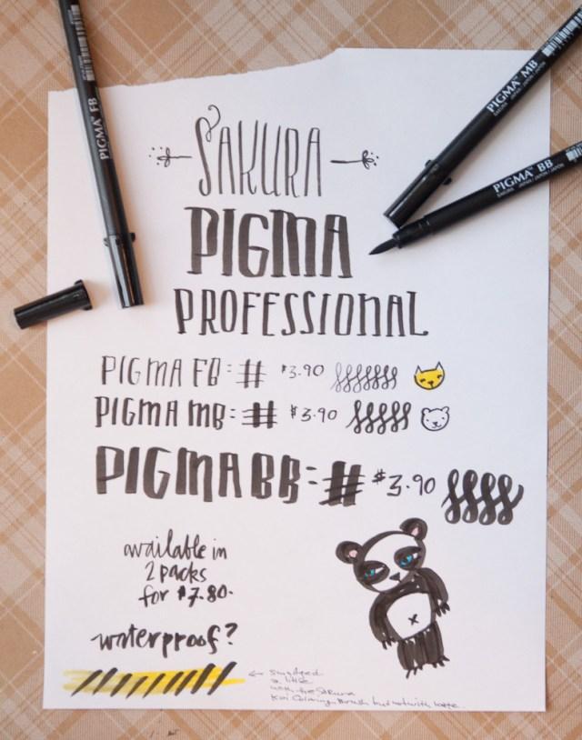 Sakura Pigma Professional Brush Pens writing sample