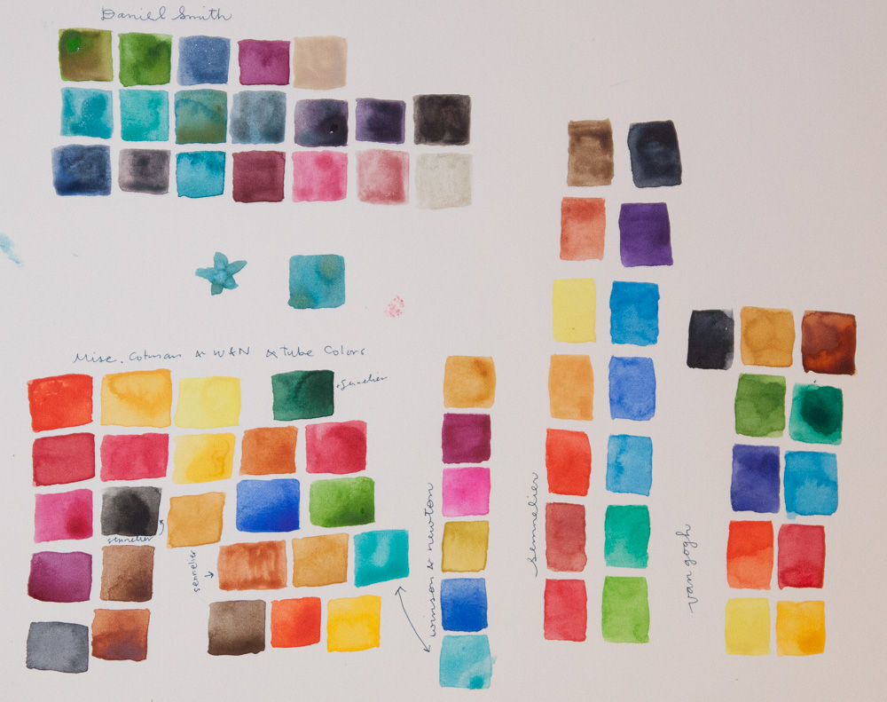All the watercolor color swatches