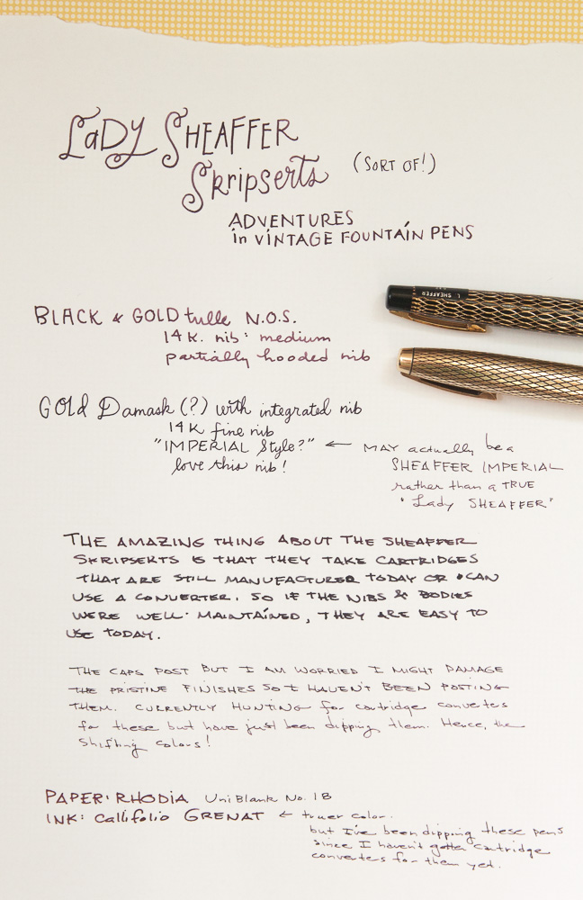 Sheaffer Lady Skripsert & Imperial Writing Samples