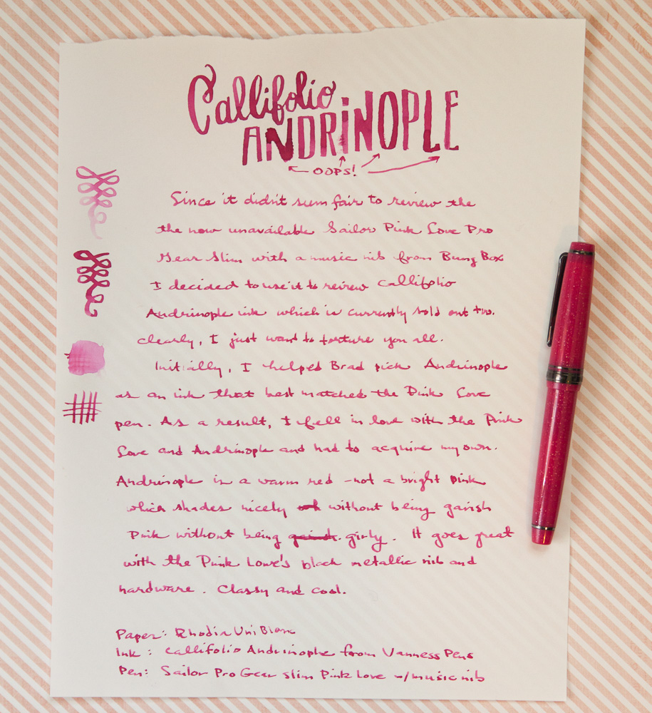 Callifolio Andrinople Ink Writing Sample