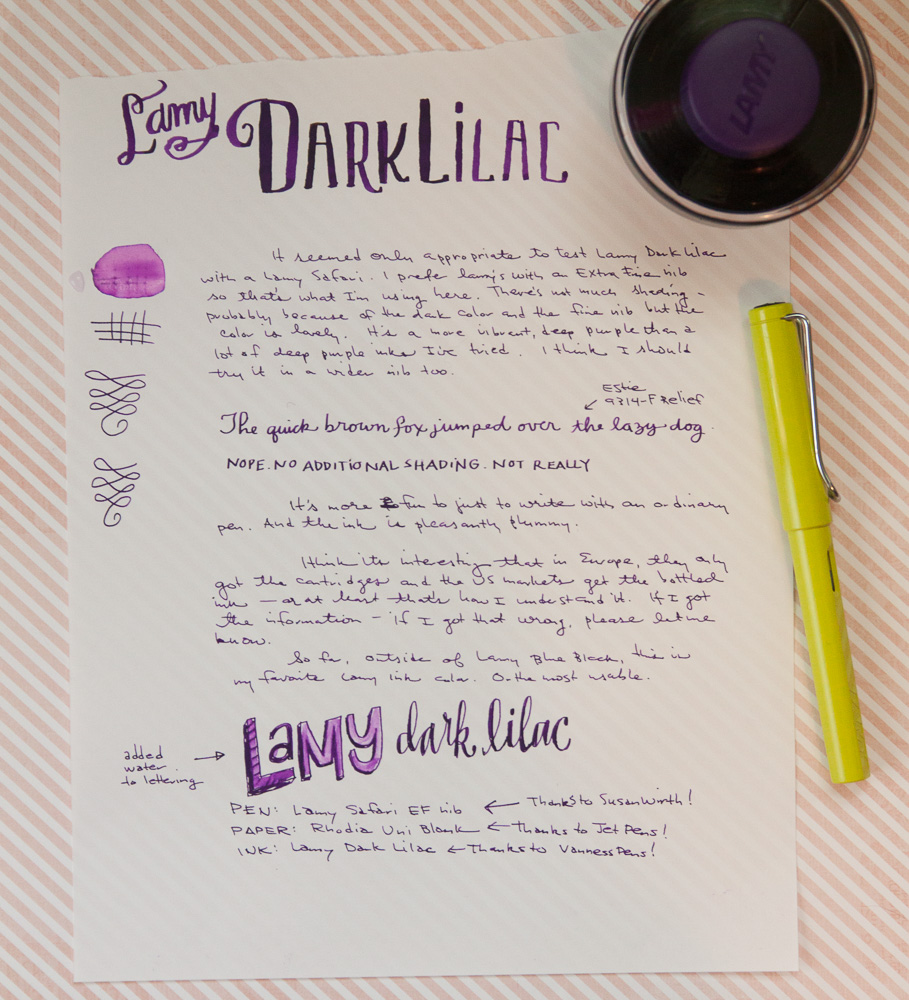 Lamy Dark Lilac Ink Writing Sample