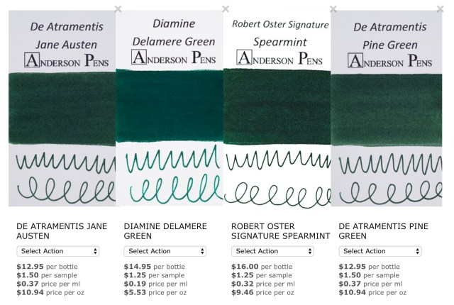 Streetcar Green Ink Comparison