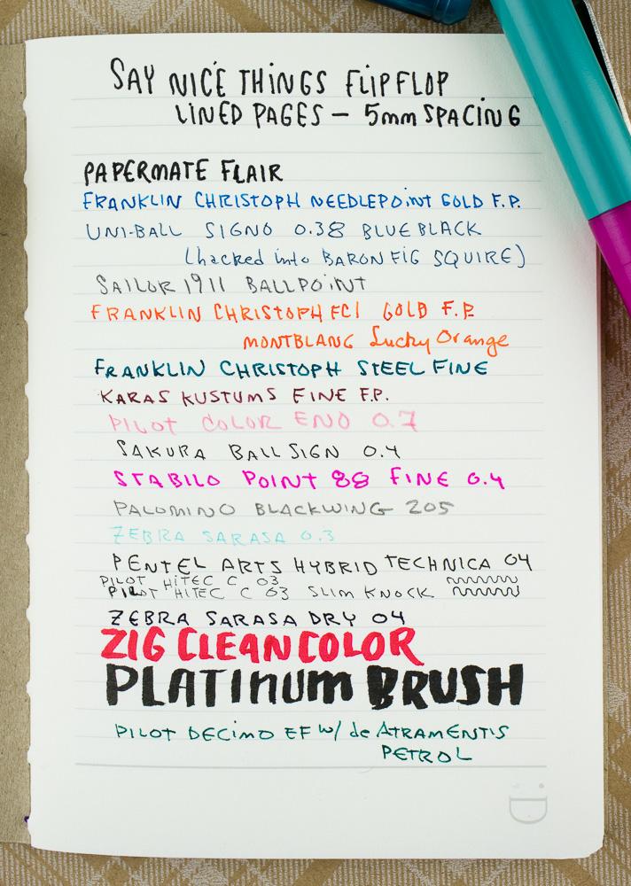 FlipFlop Pocket Notebooks writing pen tests