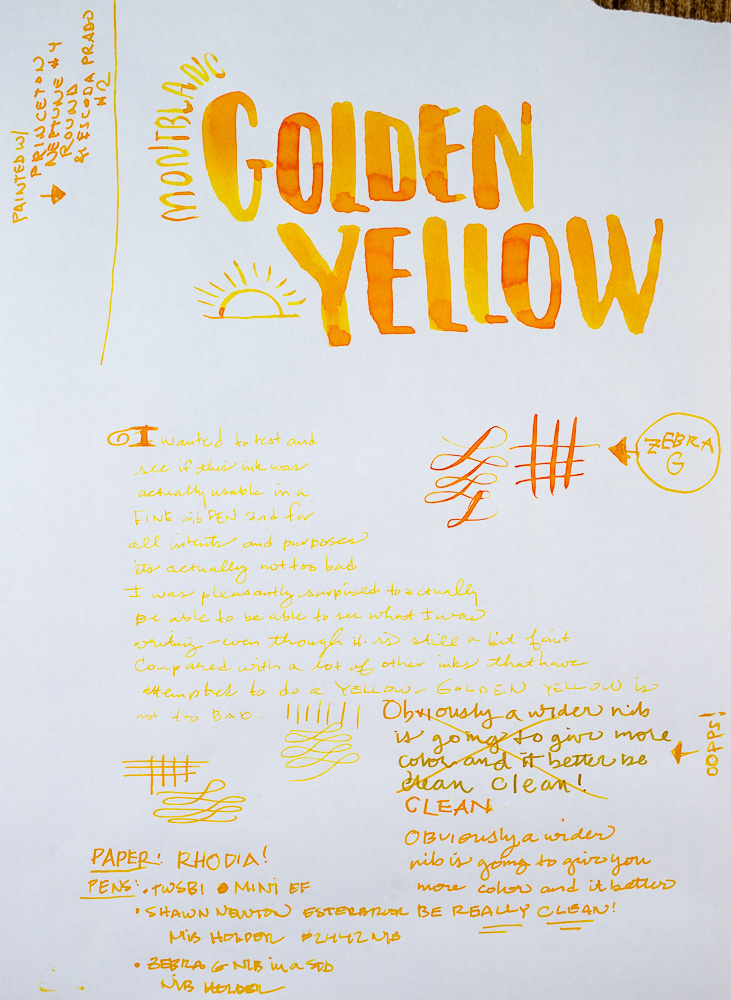 Montblanc Golden Yellow writing sample