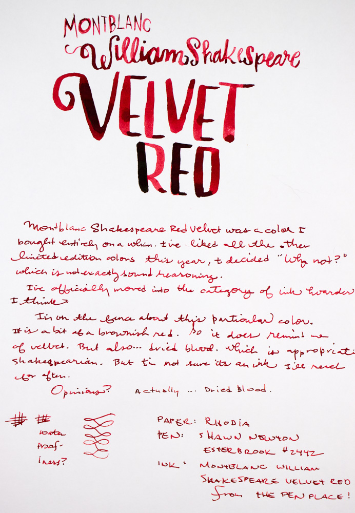Montblanc Velvet Red Writing Sample