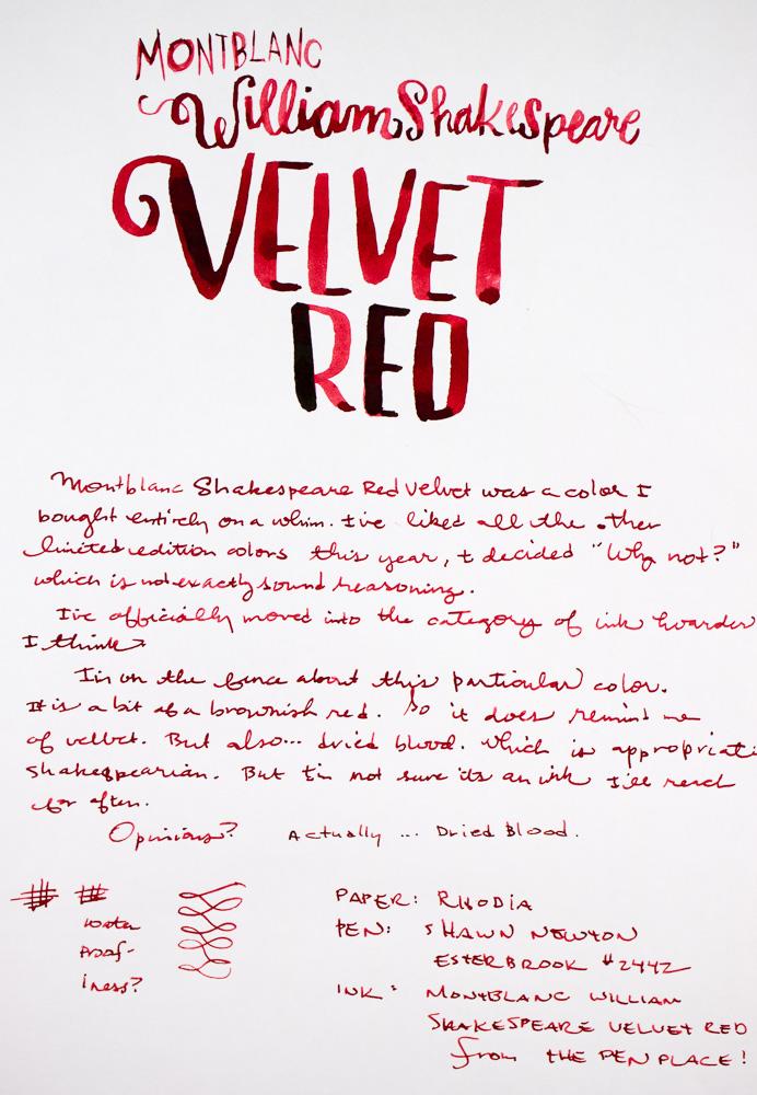 Montblanc Velvet Red Writing Sample