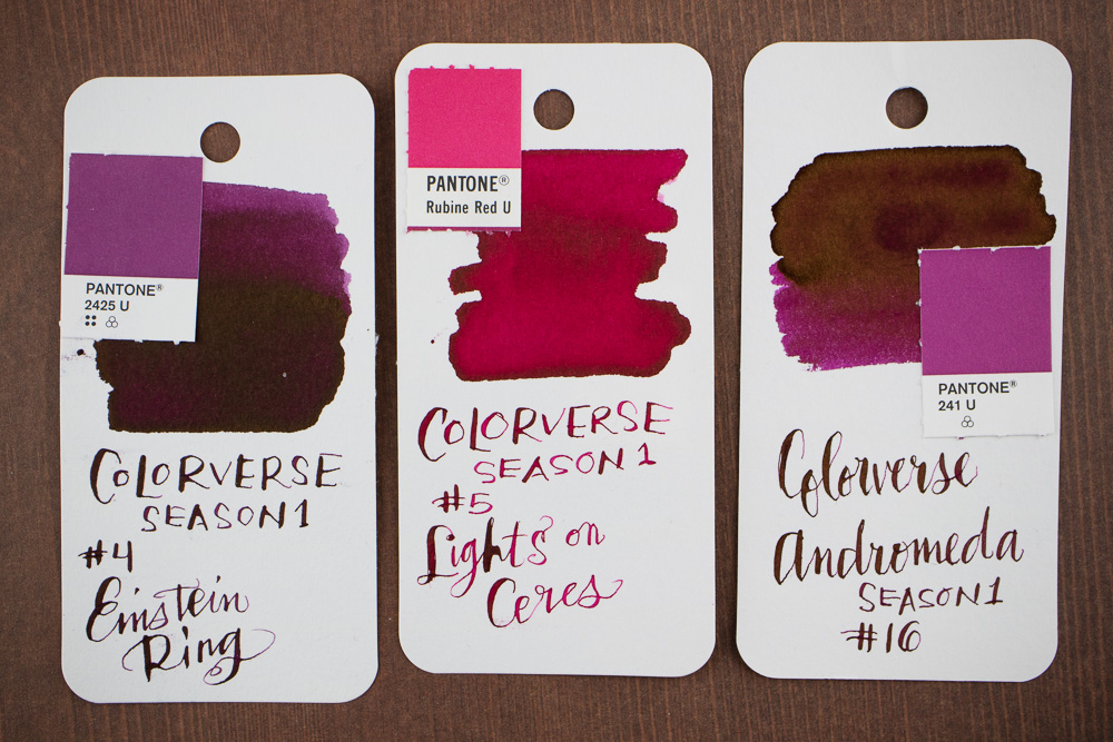 I Got Three Pink Purple Colors In The First Batch Of Colorverse Inks Einstein Ring 04 And Lights On Ceres 05 From Season One Spaceward Andromeda 16