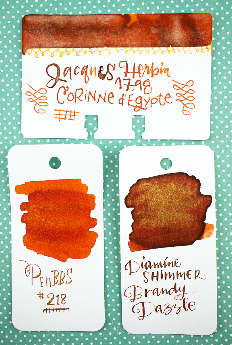 Jacques Herbin Cornaline d'Egypte swatch comparison