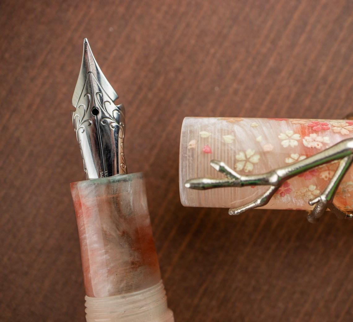 18111 Sakura blossom fountain pen with Regalia Semi flex nib