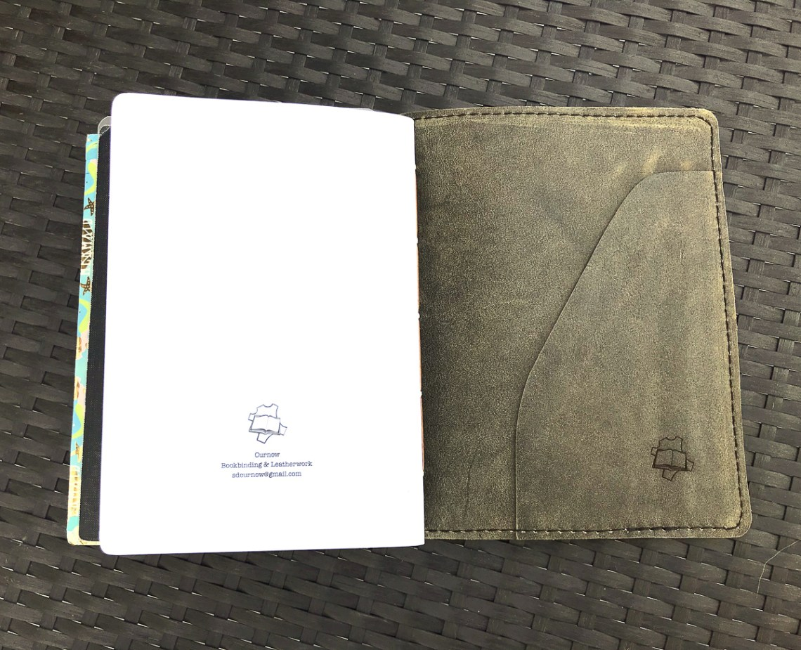 Curnow leather cover back pocket & notebook