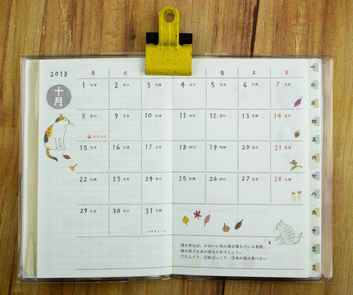 Midori 2019 Cat Pocket Planner
