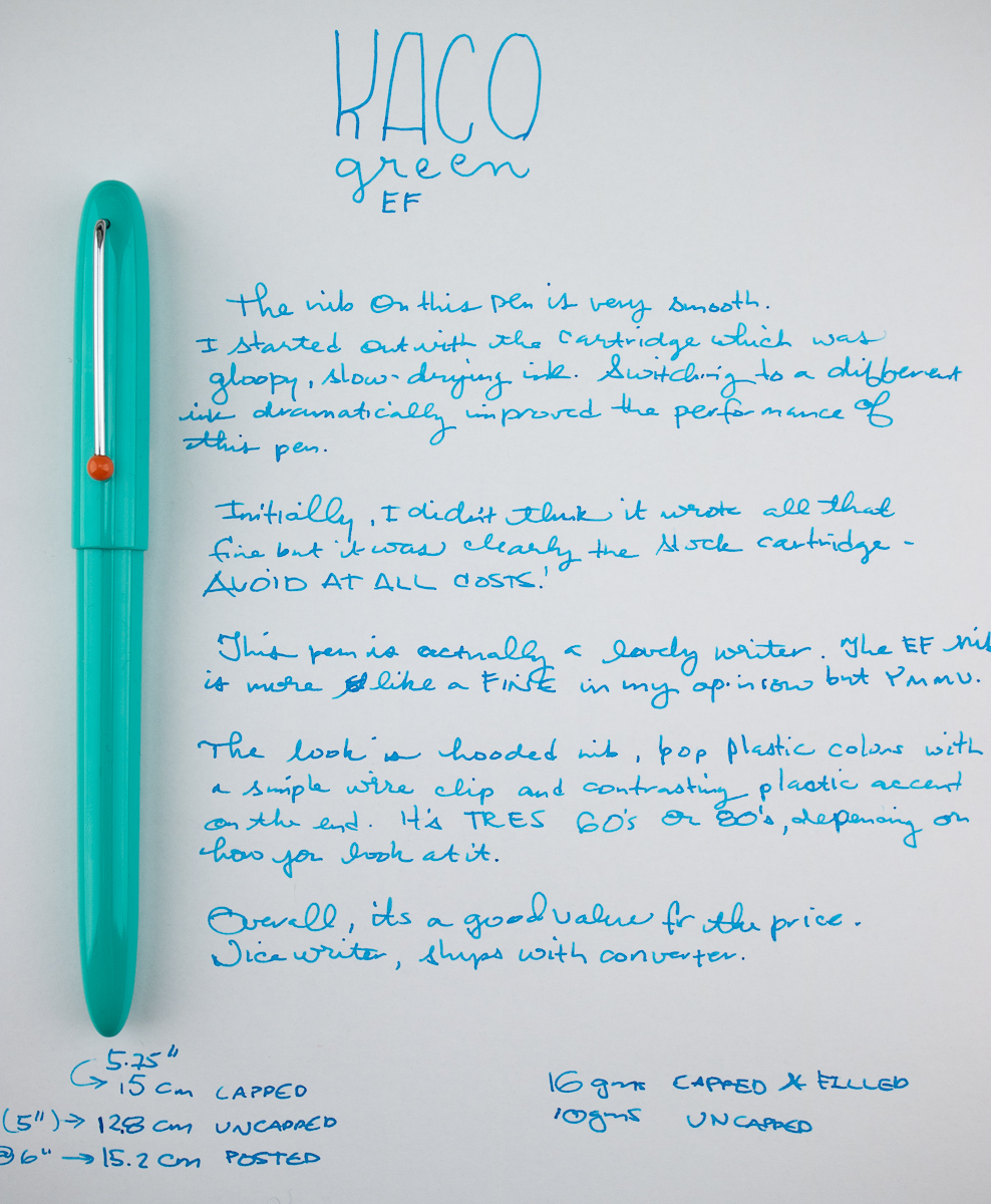 Kaco Retro Fountain Pen writing sample
