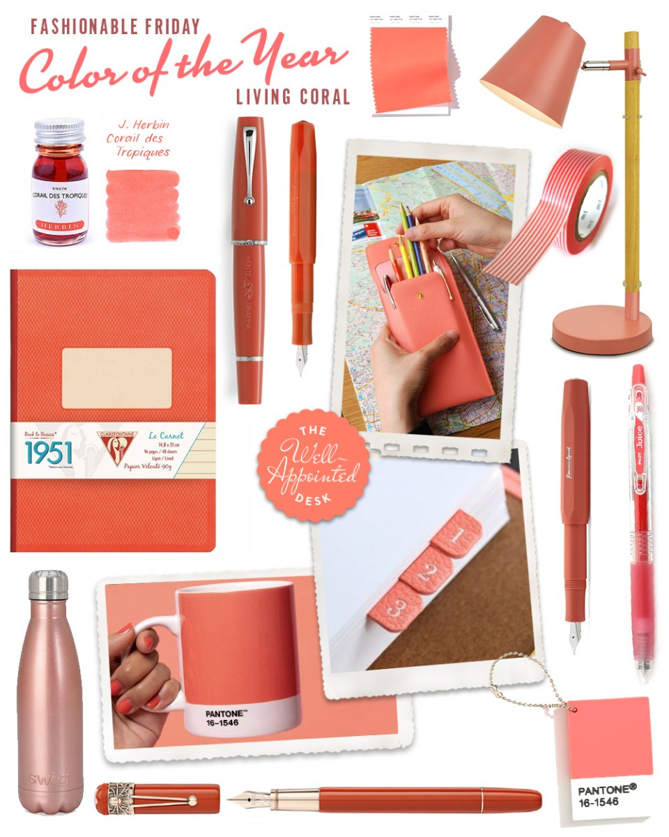 stationery items in the living coral colour