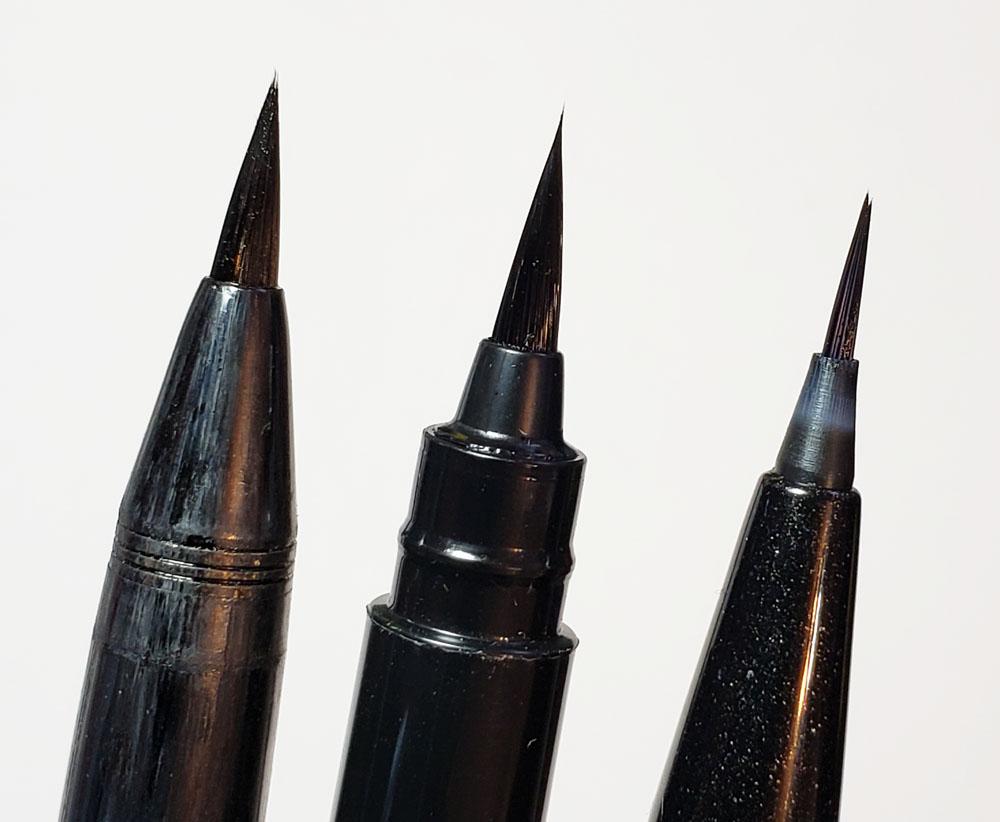 3 - brush tip comparison - Kuretake, Pentel Pocket brush, UF Pentel