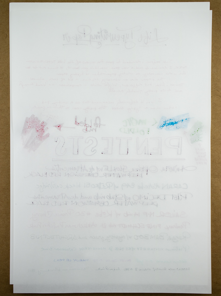 Life Typewriting paper writing test reverse side