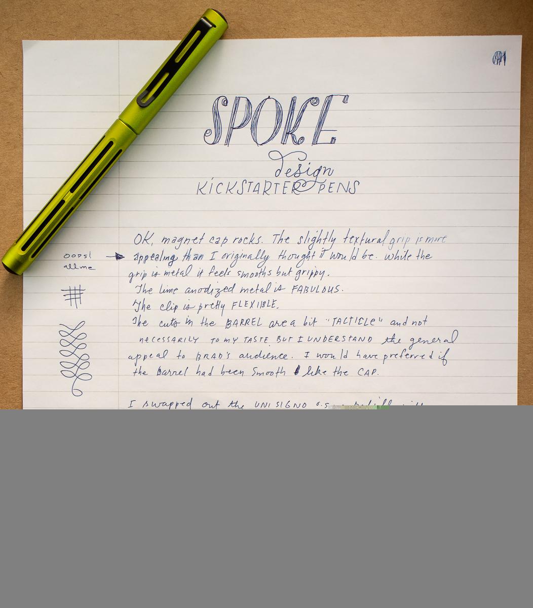 Spoke Design Pen writing sample