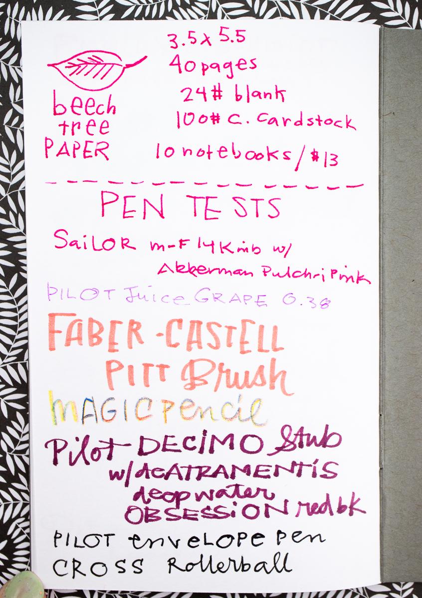 Beech Tree Notebooks writing test