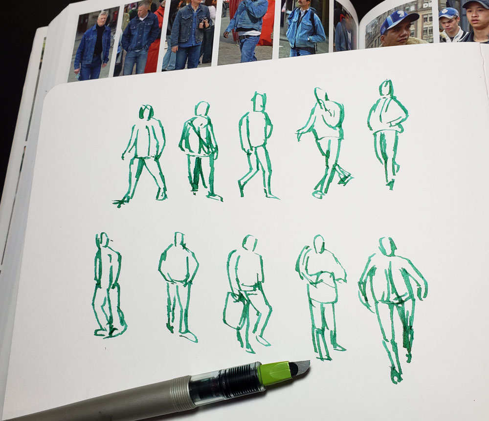 Parallel sketches with Emerald Green