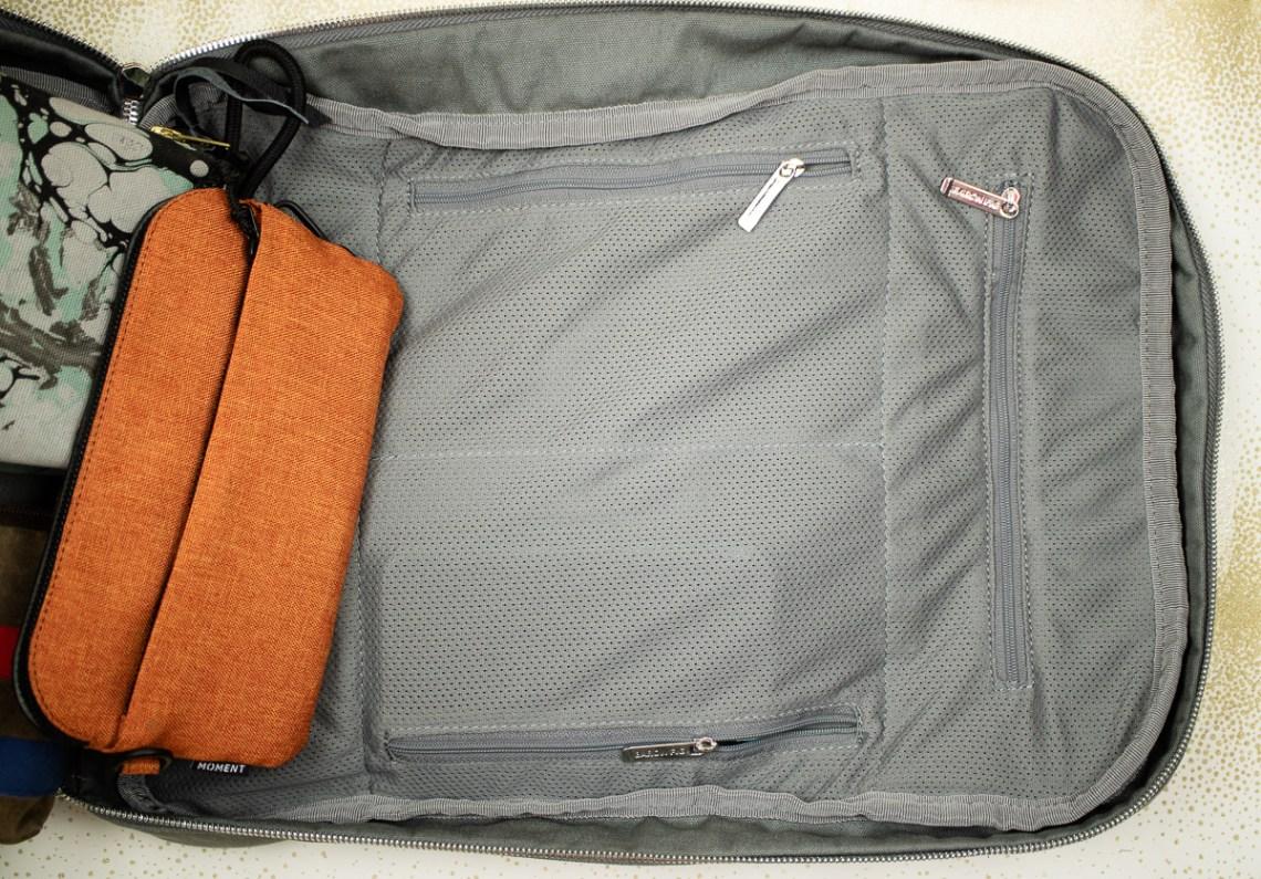 Baron Fig Venture Slimline Backpack view inside front