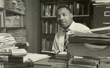 Martin Luther King at his desk