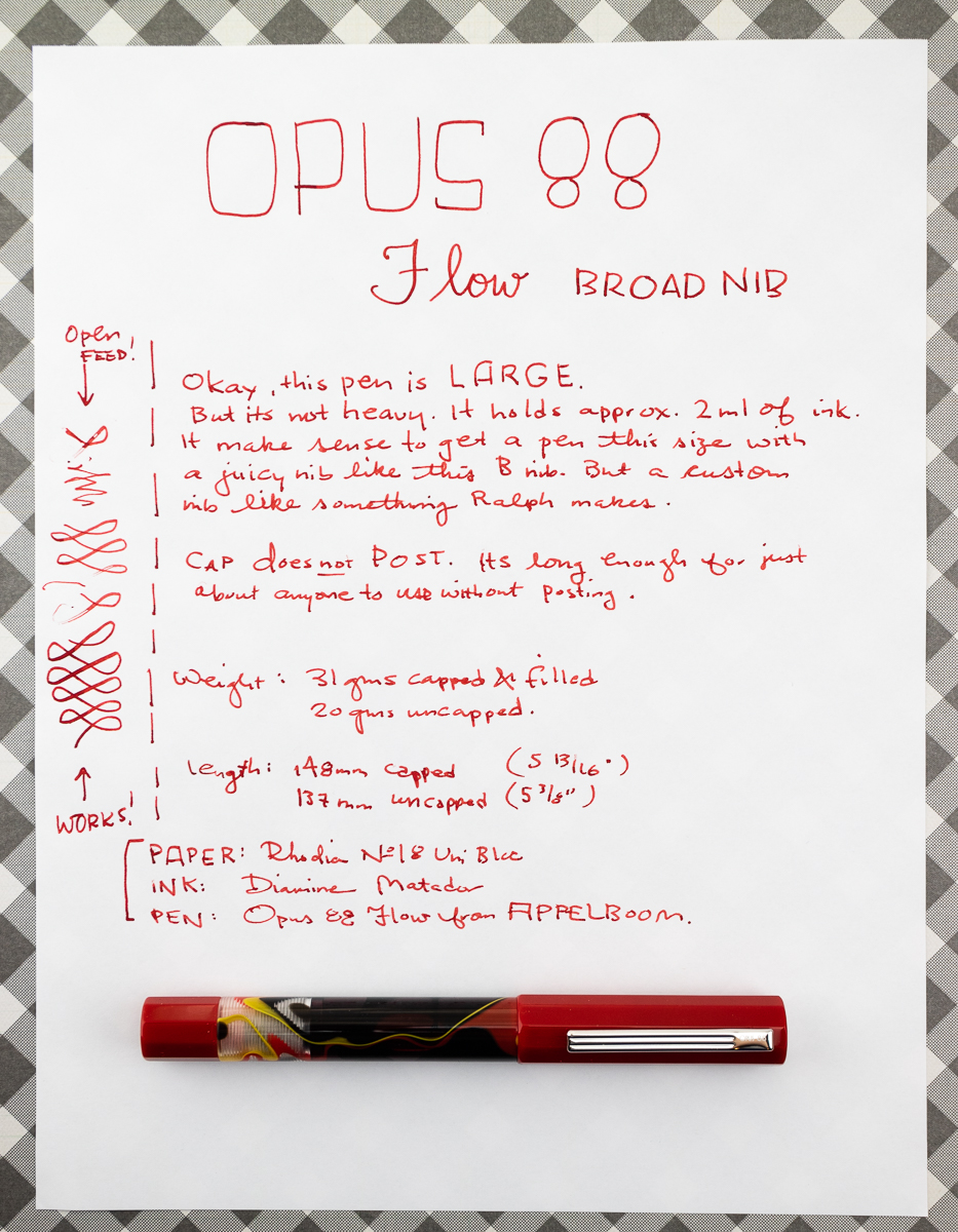Opus 88 Flow Fountain Pen writing sample