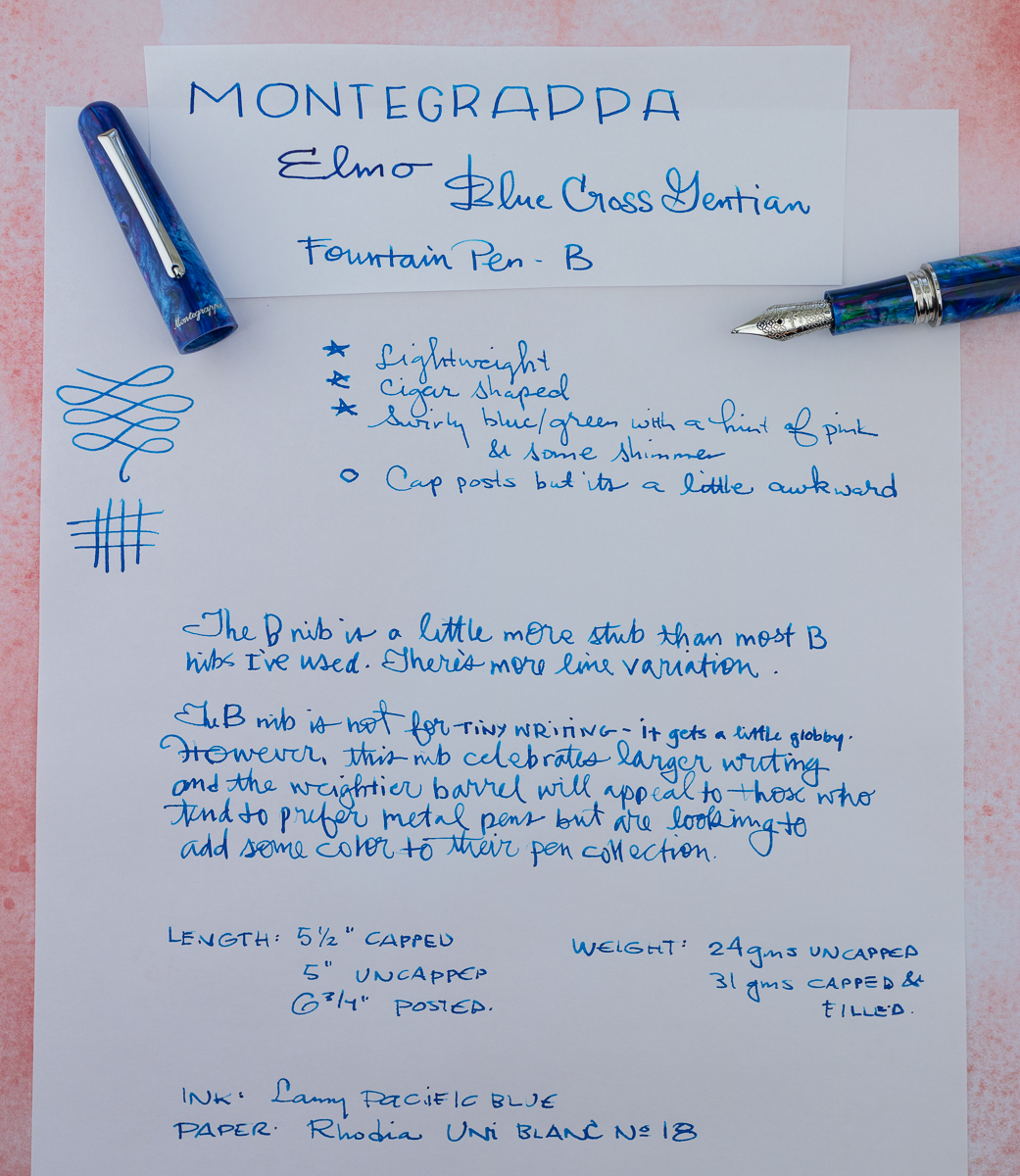 Monegrappa Elmo Blue Gentian Writing Sample