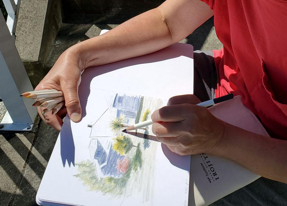 Tina sketching