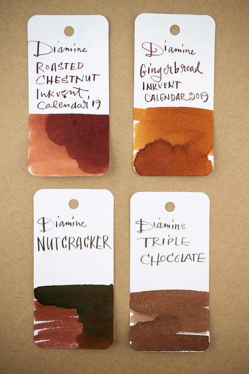 inkvent swatches browns