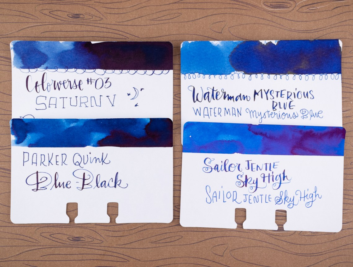 Waterman Serenity Blue ink comparisons