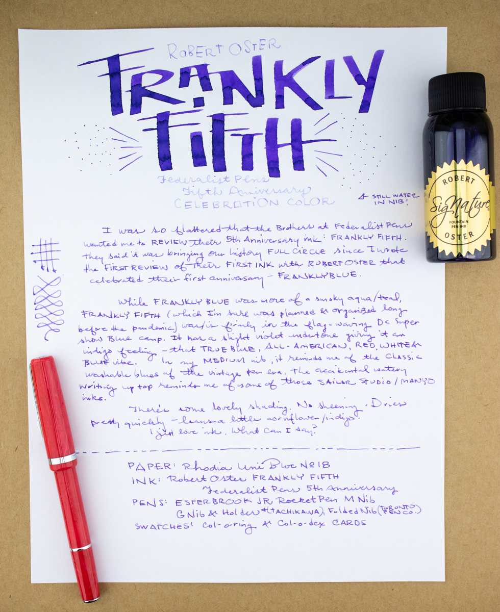 Robert Oster Frankly Fifth writing sample