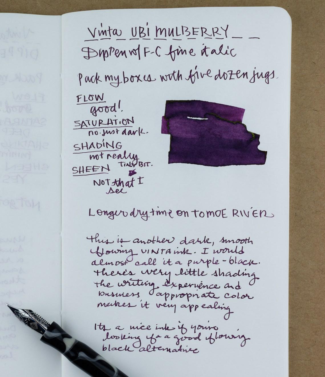 Vinta Mulberry writing sample