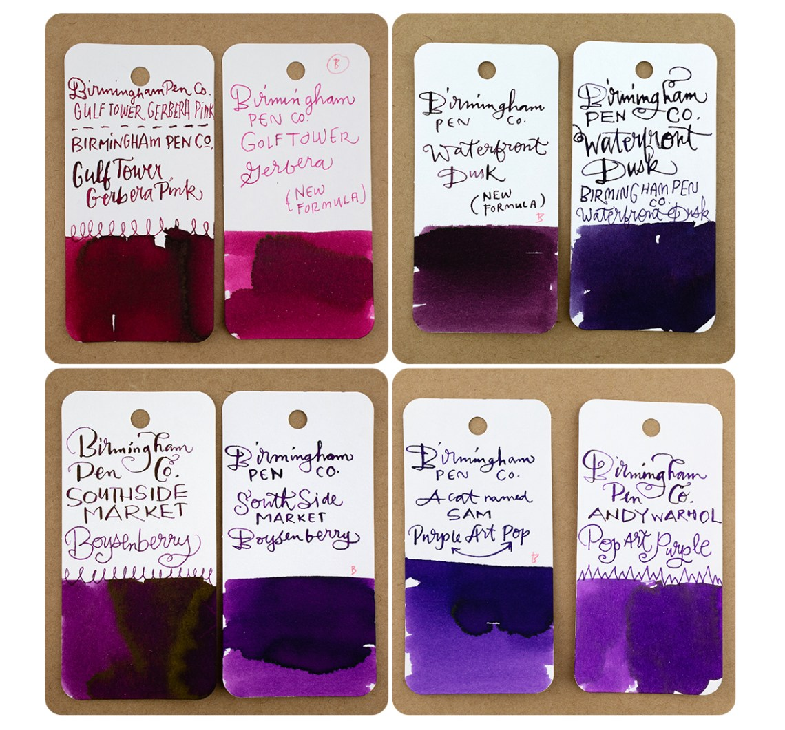 Bham Pen Co comparison swatches - reds and purples