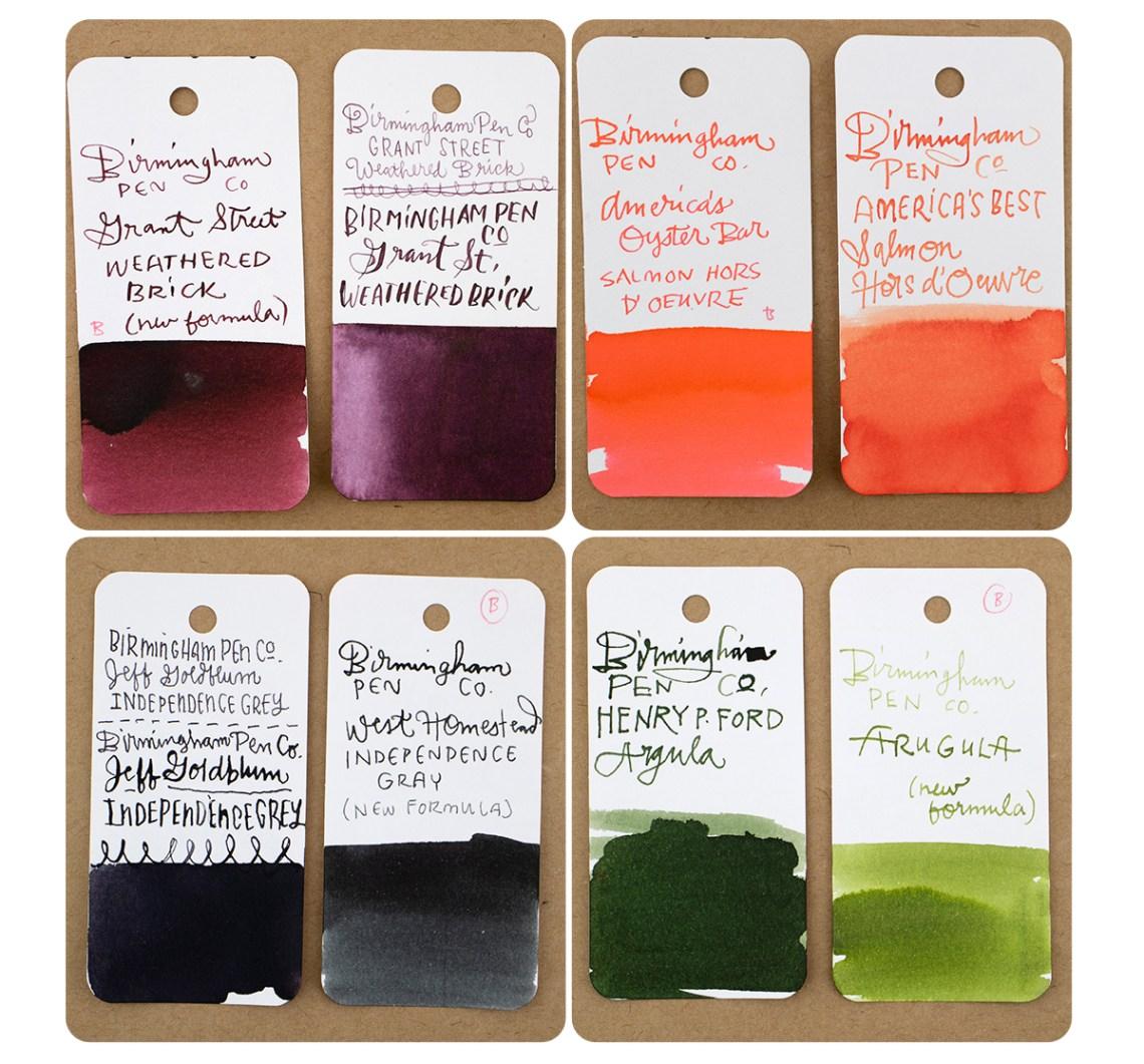 Bham Pen Co comparison swatches - grey, green, orange, brick