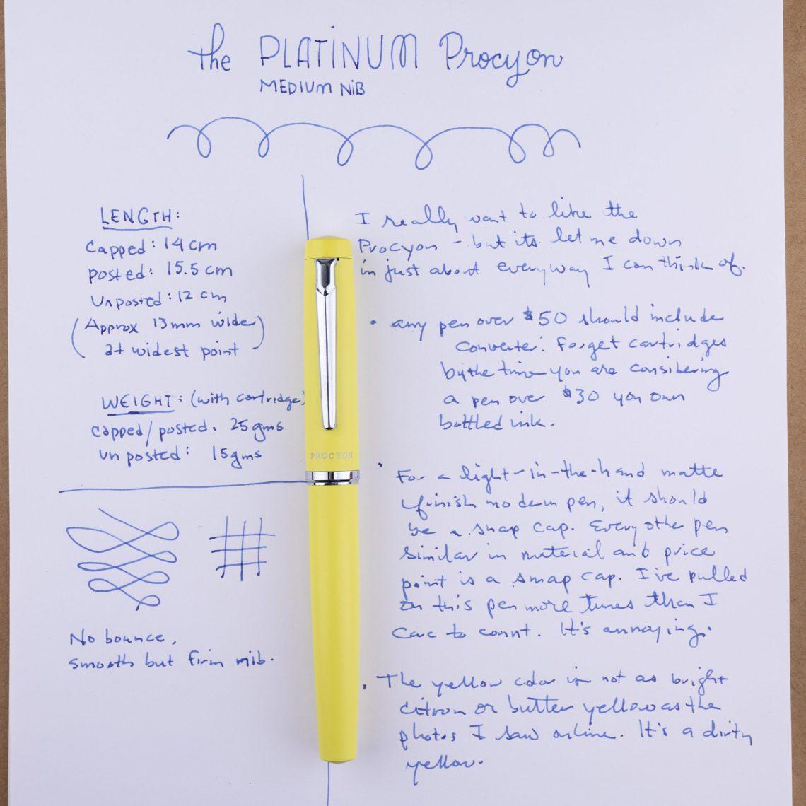 Platinum Procyon Citron writing sample