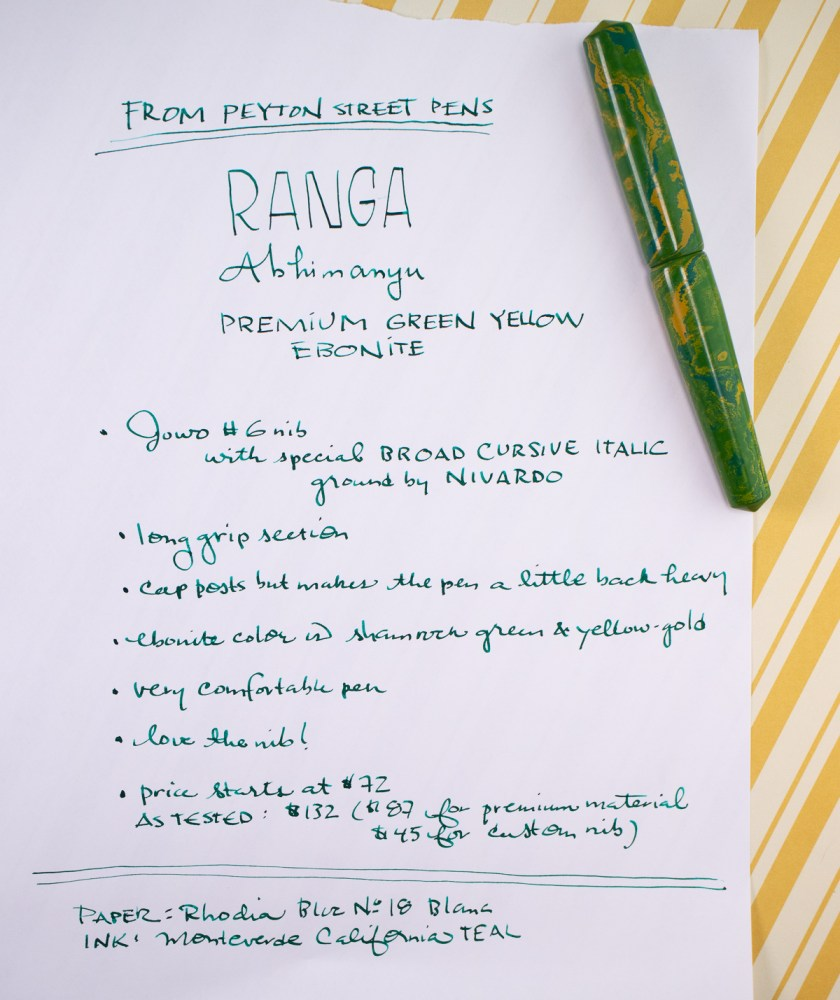 Ranga Abhimanyu Premium Ebonite Green Yellow Fountain Pen