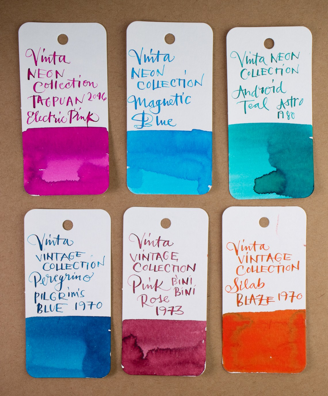 Vinta Vintage & neon Collections ink swatches