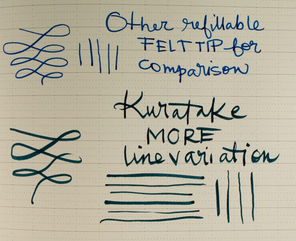 """Comparing Kuretake Karappo Brush Pen to """"Wicking"""" Pen"""