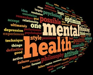 Mental health in word tag cloud