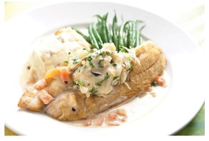 Local 463's Redfish Anna with sautéed crabmeat,  garlic mash, thin beans and a charred tomato lemon butter
