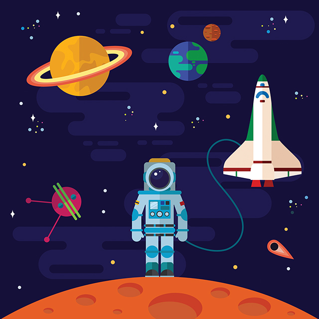 Space, spaceship, astronaut, and planets.