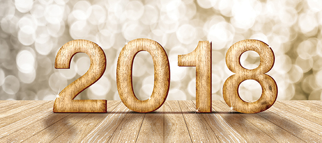 2018 new year wood number in perspective room with sparkling bokeh wall and wooden plank floor,leave space for adding your content